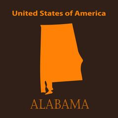 Orange Alabama map - vector illustration.