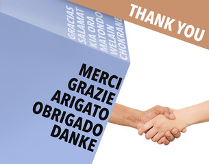 Handshake as thank you - international business concept