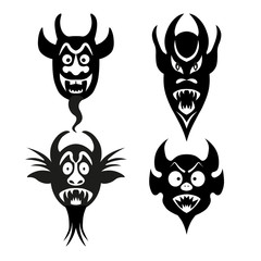 Set of infernal characters for the holiday of Halloween