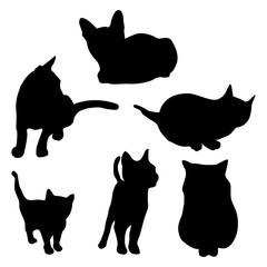 Vector cat silhouette set