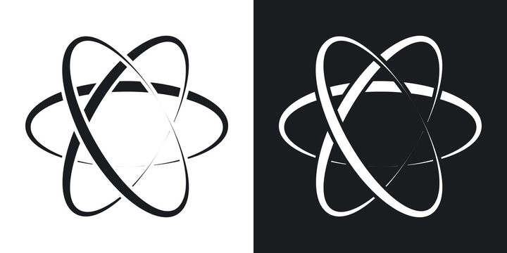 Vector atom icon. Two-tone version on black and white background