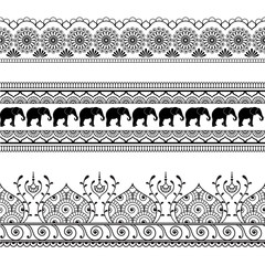 Mehndi henna border seamless pattern element with elephants and flower line lace in Indian style isolated on white background.