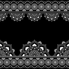 Border pattern mehndi elements with flower lace lines in Indian style for card and tattoo isolated on black background.