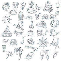 Summer time. Hand drawn symbols and objects