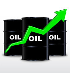 Oil Barrels And Green Arrow Chart On White Background, Up Trend