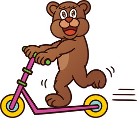 Bear Riding Freestyle Scooter Cartoon Illustration