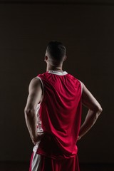 Portrait of basketball player front the back posing