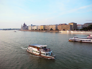 View of Royal Palace and Danube river in Budapest.