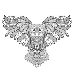 Eagle owl. Adult antistress coloring page