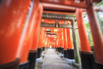 Red Tori Gate at Fushimi Inari Shrine in Kyoto, Japan, selective