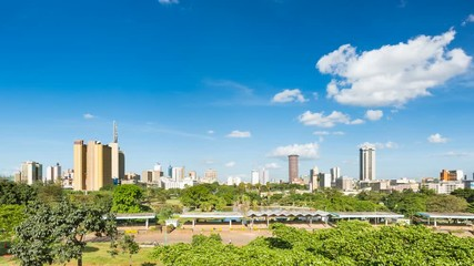 Wall Mural - Panning timelapse sequence of the skyline of Nairobi, Kenya with Uhuru Park in the foreground in 4K
