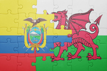 puzzle with the national flag of wales and ecuador