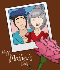 Beauty Memory Photo of Mom and Son in Mother's Day, Vector Illustration
