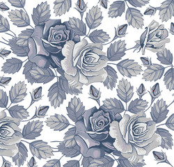 Roses. Flowers. Classic pattern. Beautiful blue flowers. Vintage background with blooming flowers. Drawing, engraving. Freehand. Wallpaper. Vector victorian style Illustration.