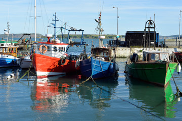 fishing boats in the bay at cobh