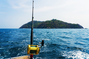 Fishing trolling  with motor boat in the tropical sea.