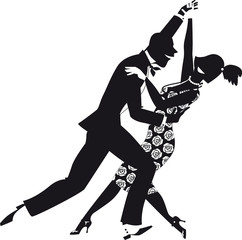 Fototapete - Black vector silhouette of a couple, dressed in 1920s fashion, dancing. EPS 8, no white objects