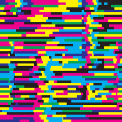 Abstract background vector seamless pattern in glitch style design for creative print poster, website, brochure cover and other design projects. Glitch background. Glitch pattern. Digital background.