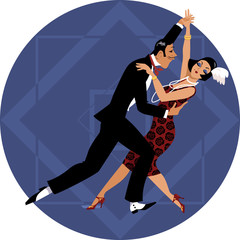 Wall Mural - Couple dressed in 1920s fashion dancing on a geometric background, EPS 8 vector illustration, no transparencies