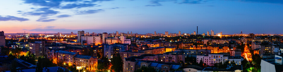 Podol district panorama view in Kiev