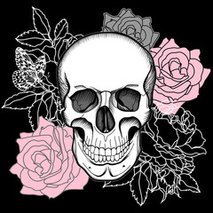 Skull and flowers. Day of The Dead. Vintage Vector.