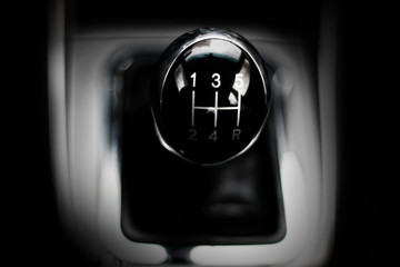 manual gearbox in the car macro black