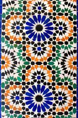 Moroccan mosaic tiles on wall