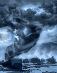 Dramatic tornado.  Sky with storm clouds