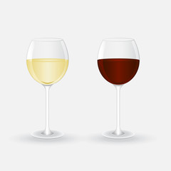 glasses with white and red wine