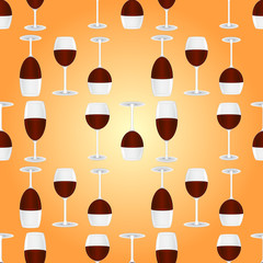glasses with red wine seamless pattern