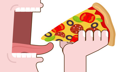 Man eating pizza. Pizza hand. Wide open mouth with teeth and ton