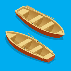 Rowing boat set. Wooden boat with paddles isolated. Flat 3d isometric vector illustration.