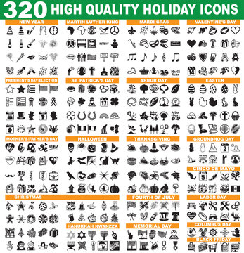 320 High Quality Holiday Icons, including Memorial Day, Arbor Day, Elections and many more!