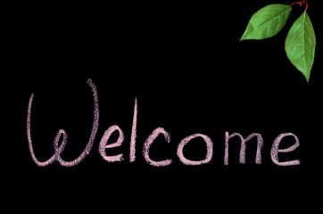 "the word ""Welcome"" in chalk on black background"