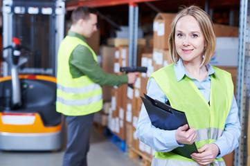 Warehouse Management System. female worker portrait