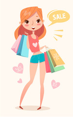 Girl goes for shopping. Fashion girl. Vector illustration.