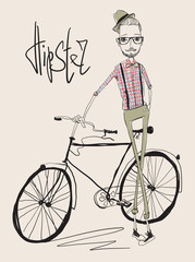 hipster man with a bicycle