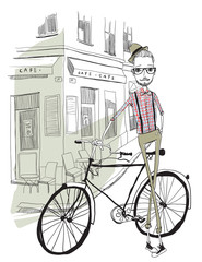 La pose en embrasure Art Studio Bicycle Illustration WIth Hipster Man Character