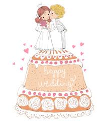 wedding invitation bride and groom on the cake