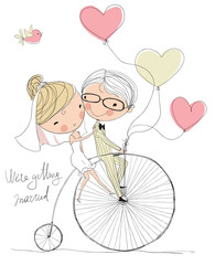 wedding picture, bride and groom ride bikes