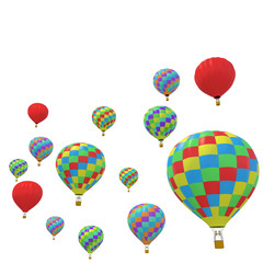 Group colorful balloon isolated on white background.