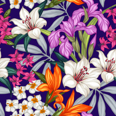 Seamless exotic pattern with tropical leaves and flowers. Blooming jungle. Vector illustration