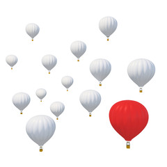 Best of breed concept with a red hot air balloon and standing out from the rest isolated on white background.