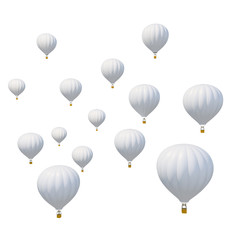 Group white air ballon isolated on white background.