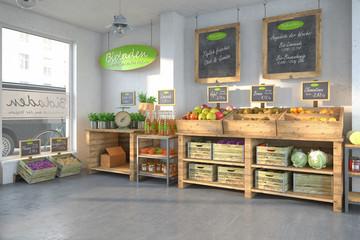 Bioladen - mit einer Auswahl an frischen Obst und Gemüse.