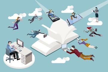 Empleados de una empresa editorial y nuevas tecnologías