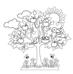 Spring tree, birds build nests, seasonal signs of spring.Vector illustration on white background. Coloring.