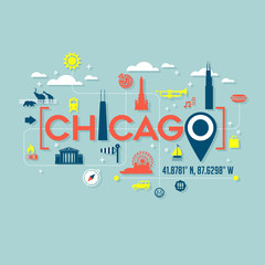 Chicago icons and typography design for cards, banners, tshirts, posters