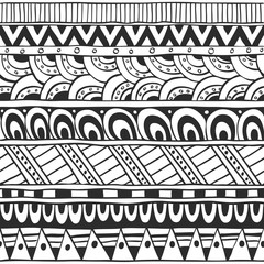 Seamless ornament from doodles and geometric elements in ethnic