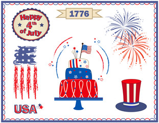 Fourth of July Set - Fourth of July clip art with fireworks, cake, stylized flag and more. Eps10